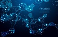 Fondo cient?fico de la mol?cula para la medicina, ciencia, tecnolog?a, qu?mica DNA digital, secuencia, código Tecnolog?a nana ilustración del vector