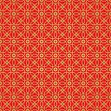 Fondo cinese d'annata senza cuciture dorato del modello di fiore della stella del poligono dei trafori della finestra Fotografia Stock
