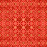 Fondo cinese senza cuciture dorato del modello di fiore del quadrato della geometria della grata dei trafori della finestra Fotografie Stock Libere da Diritti
