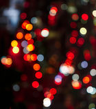 Fondo circolare astratto del bokeh della luce della città nella forma del cuore immagine stock