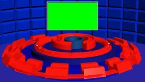 Fondo circolare astratto 4k con la parete strutturata blu ed i cilindri di rotazione rossi di romanzo illustrazione vettoriale