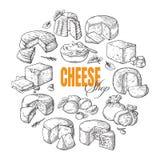 Fondo circolare della vista superiore del formaggio differente Immagine Stock Libera da Diritti