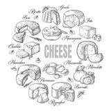 Fondo circolare della vista superiore del formaggio differente Fotografia Stock Libera da Diritti