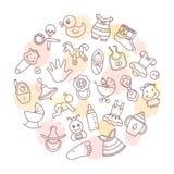 Fondo circular de los temas de los niños con los juguetes, la ropa y otros elementos en el tema de niños ilustración del vector