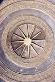 Fondo circular grabado al agua fuerte del metal Imagen de archivo