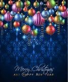 Fondo clásico del vintage de la Navidad con las bolas y las luces de la estrella Imagen de archivo libre de regalías