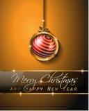 Fondo clásico del vintage de la Navidad con las bolas y las luces de la estrella Foto de archivo libre de regalías