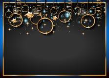Fondo clásico del vintage de la Navidad con las bolas y las luces de oro de la estrella Foto de archivo
