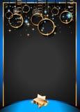 Fondo clásico del vintage de la Navidad con las bolas y las luces de oro de la estrella Fotografía de archivo libre de regalías