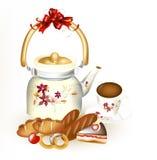 Fondo claro con la panadería, taza de té y teap adornado Imagen de archivo libre de regalías
