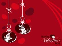 Fondo colgante de la etiqueta de los pares de la tarjeta del día de San Valentín Imagen de archivo libre de regalías