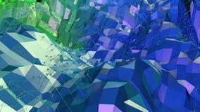 Fondo colocado estilo polivinílico bajo abstracto animación inconsútil 3d en 4k Colores modernos de la pendiente Superficie azulv stock de ilustración