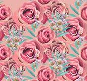Fondo color de rosa del vector del estampado de flores del vintage Viejas texturas del papel del Grunge Imagenes de archivo