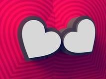 Fondo coloreado abstracto de dos corazones representación 3d Modelo colorido de la muestra representación 3d stock de ilustración
