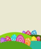 Fondo coloreado con los huevos de Pascua stock de ilustración
