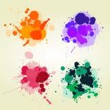 Fondo coloreado de los splats de la pintura Fotos de archivo