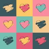 Fondo coloreado del día de tarjetas del día de San Valentín con los corazones Imagen de archivo