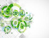 Fondo coloreado verde abstracto de la plantilla del negocio de la tecnología stock de ilustración