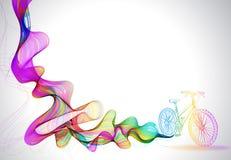 Fondo colorido abstracto con la onda y la bicicleta Imagen de archivo libre de regalías
