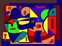 Fondo colorido abstracto, formas geométricas y curvadas de lujo Foto de archivo