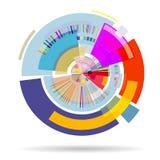 Fondo colorido abstracto moderno 3D de formas geométricas en un círculo stock de ilustración