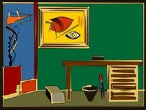 Fondo colorido abstracto, sitio verde surrealista con el escritorio 17 -261 Foto de archivo