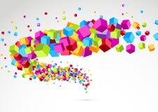 Fondo colorido brillante del cubo 3d Swoosh Imagen de archivo