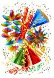 Fondo colorido con las guirnaldas, la flámula y el confeti Fotografía de archivo libre de regalías