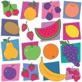 Fondo colorido de la colección de la fruta Fotografía de archivo