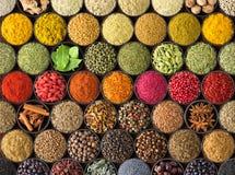 Fondo colorido de la especia, visión superior condimentos e hierbas para la comida europea fotografía de archivo libre de regalías