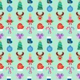 Fondo colorido de la Navidad inconsútil Diseño plano Vector Foto de archivo libre de regalías