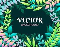 Fondo colorido de la primavera con las hojas Ejemplo del vector para el verano de las invitaciones de la primavera, de los cartel ilustración del vector
