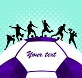 Fondo colorido de la silueta del balón de fútbol de futbolista Cartel coloful de la tarjeta de la bandera del diseño del ejemplo  Imagenes de archivo