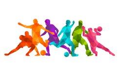 Fondo colorido de la silueta del balón de fútbol de futbolista Cartel coloful de la tarjeta de la bandera del diseño del ejemplo  Fotos de archivo