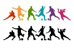 Fondo colorido de la silueta del balón de fútbol de futbolista Cartel coloful de la tarjeta de la bandera del diseño del ejemplo  Fotografía de archivo libre de regalías