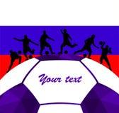 Fondo colorido de la silueta del balón de fútbol de futbolista Cartel coloful de la tarjeta de la bandera del diseño del ejemplo  Foto de archivo