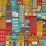 Fondo colorido de la textura de la ciudad de la historieta Imágenes de archivo libres de regalías