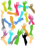 Fondo colorido de las manos Ilustración del Vector