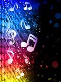 Fondo colorido de las ondas del partido con las notas de la música Fotos de archivo