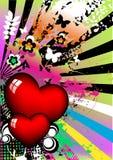 Fondo colorido de los corazones Imagenes de archivo