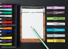 Fondo colorido de los efectos de escritorio de la escuela y de la oficina Foto de archivo