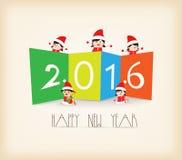 Fondo colorido de los niños de la Feliz Año Nuevo 2016 ilustración del vector