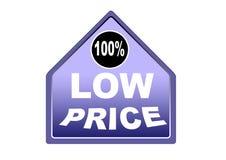 Fondo colorido 100% del blanco del botón del web del precio bajo Imágenes de archivo libres de regalías