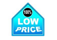 Fondo colorido 100% del blanco del botón del web del precio bajo Imagen de archivo