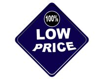 Fondo colorido 100% del blanco del botón del web del precio bajo Foto de archivo libre de regalías