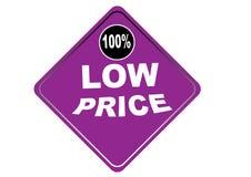Fondo colorido 100% del blanco del botón del web del precio bajo Fotografía de archivo libre de regalías