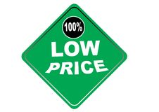Fondo colorido 100% del blanco del botón del web del precio bajo Imagen de archivo libre de regalías