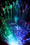 Fondo colorido del cable óptico de la red de la fibra Foto de archivo libre de regalías
