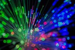 Fondo colorido del cable óptico de la red de la fibra Imágenes de archivo libres de regalías