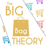 Fondo colorido del carro de la compra de la teoría grande del bolso ilustración del vector